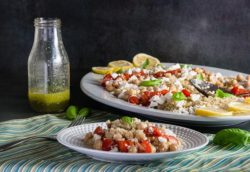 Tomato Chickpea and Quinoa Salad with Lemon Basil Vinaigrette