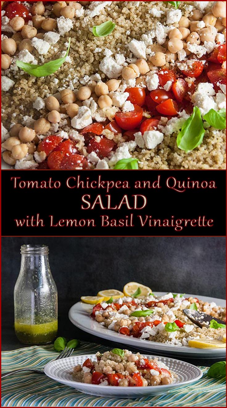 Tomato, Chickpea, and Quinoa Salad with Lemon Basil Vinaigrette from www.SeasonedSprinkles.com