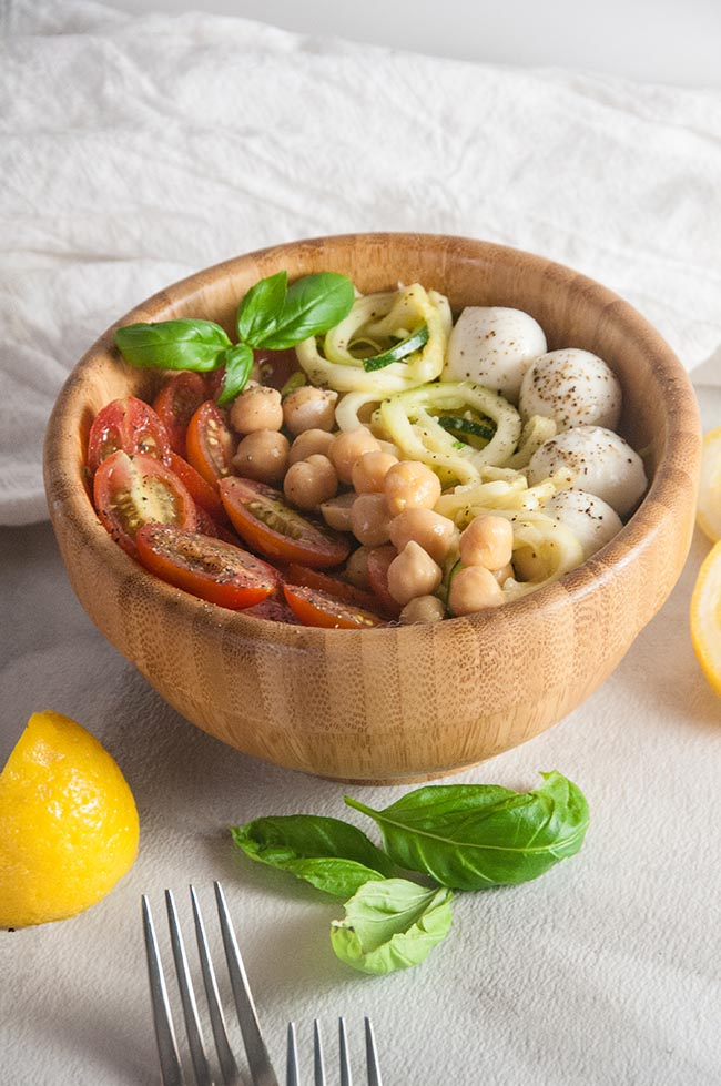Caprese Zoodle Bowls with Chickpeas