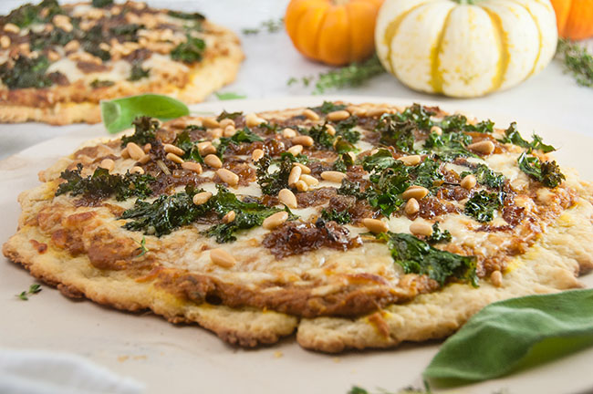 Pumpkin Parmesan Pizza with Brown Butter Caramelized Onions and Kale