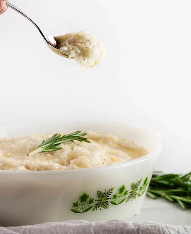 Mascarpone Mashed Potatoes with Rosemary Butter