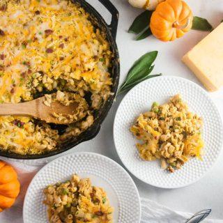 Pumpkin Macaroni and Cheese with Pancetta and Peas