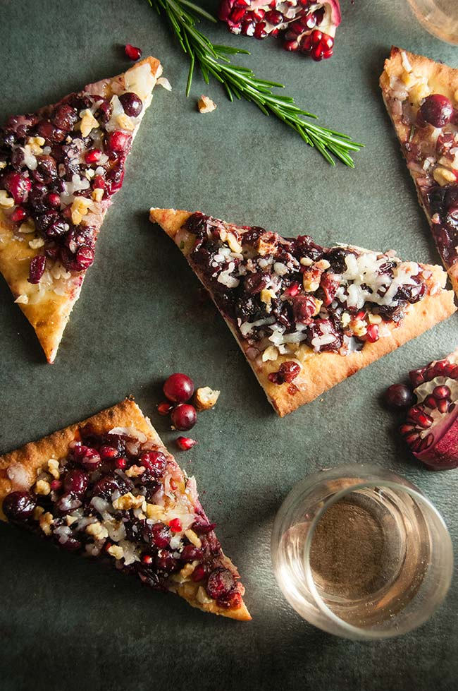 Holiday Goat Cheese Flatbread with Honey Balsamic Cranberries and Pomegranate
