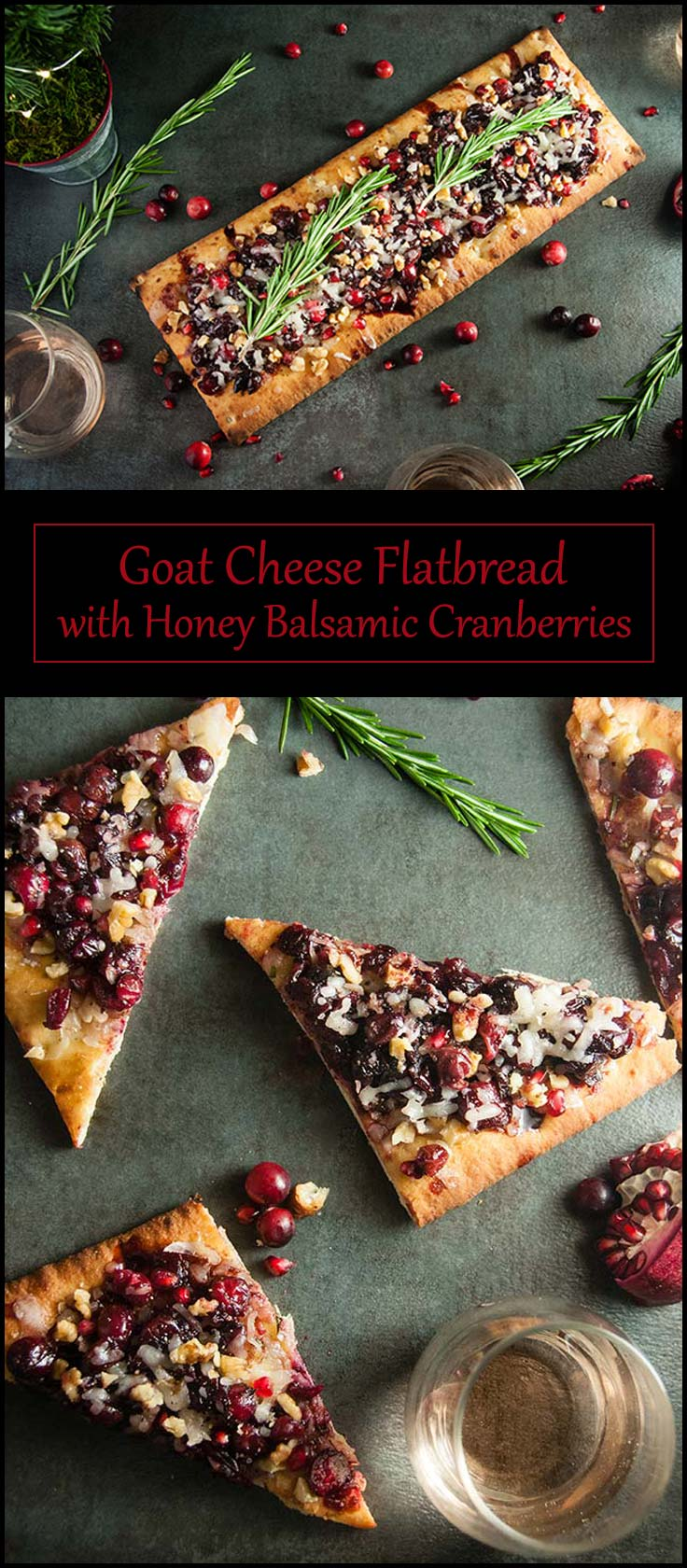 Holiday Goat Cheese Flatbread with Honey Balsamic Cranberries and Pomegranate from www.seasonedsprinkles.com