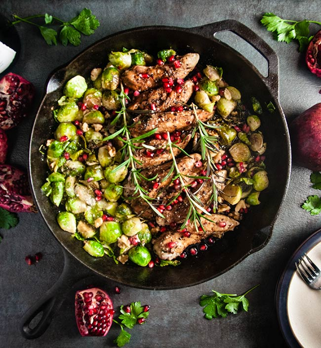 Balsamic Pomegranate Chicken Skillet