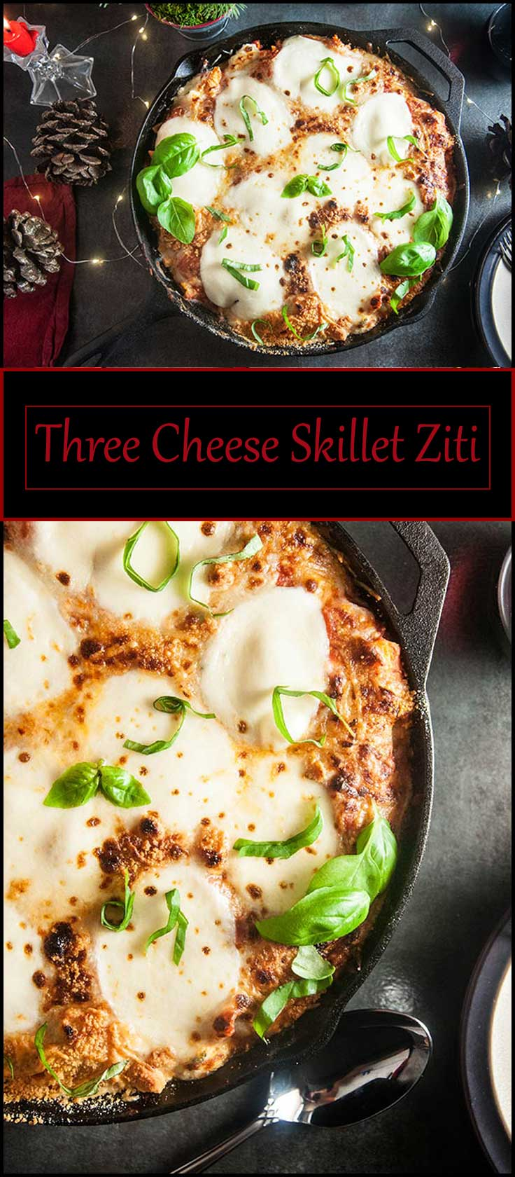 Three Cheese Skillet Ziti from www.seasonedsprinkles.com
