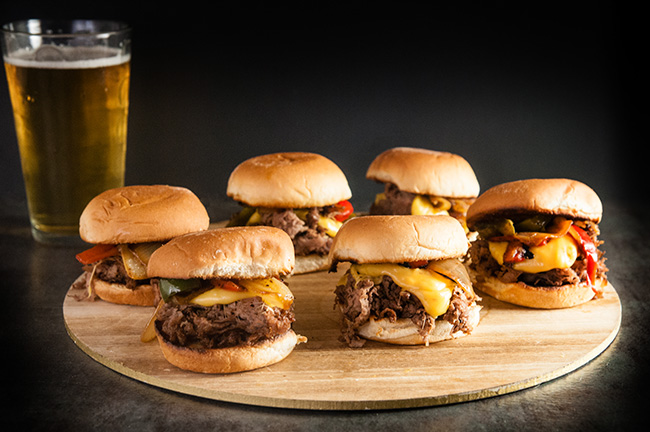 Philly Cheesesteak Sliders with Homemade Beer Cheese Whiz