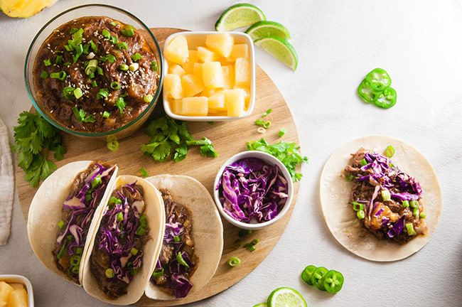 Slow Cooker Pineapple Beef Tacos