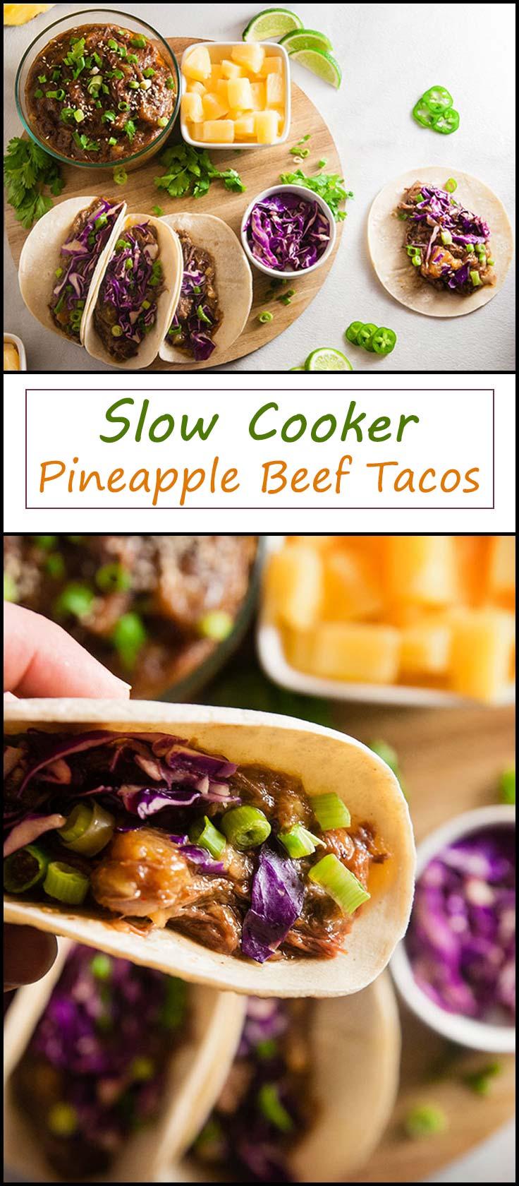 Slow Cooker Pineapple Beef Tacos from www.seasonedsprinkles.com
