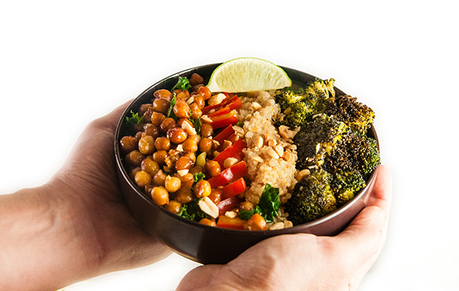 Sweet Garlic Chili Chickpea Salad with Roasted Broccoli