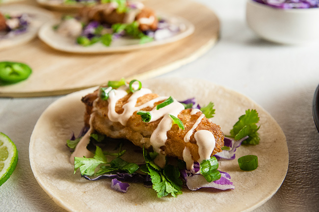 Beer Battered Fish Tacos with Chipotle Lime Crema