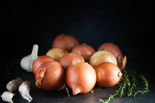 onions, garlic, and thyme