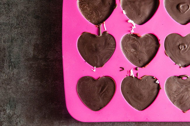 Chocolate in heart silicone molds