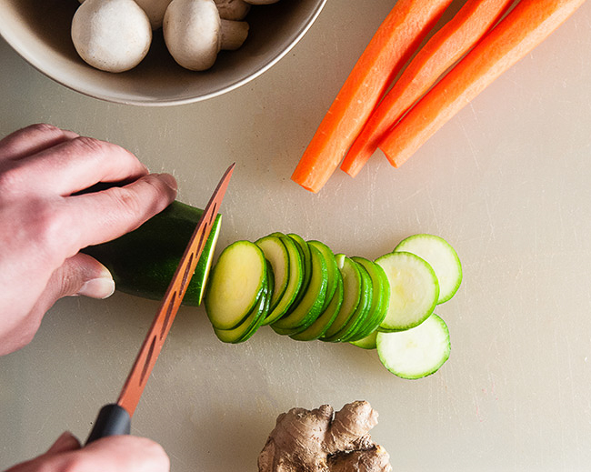 Prepping the veggies