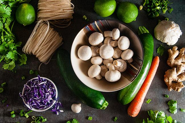 Korean Vegetable Noodle Bowls ingredients