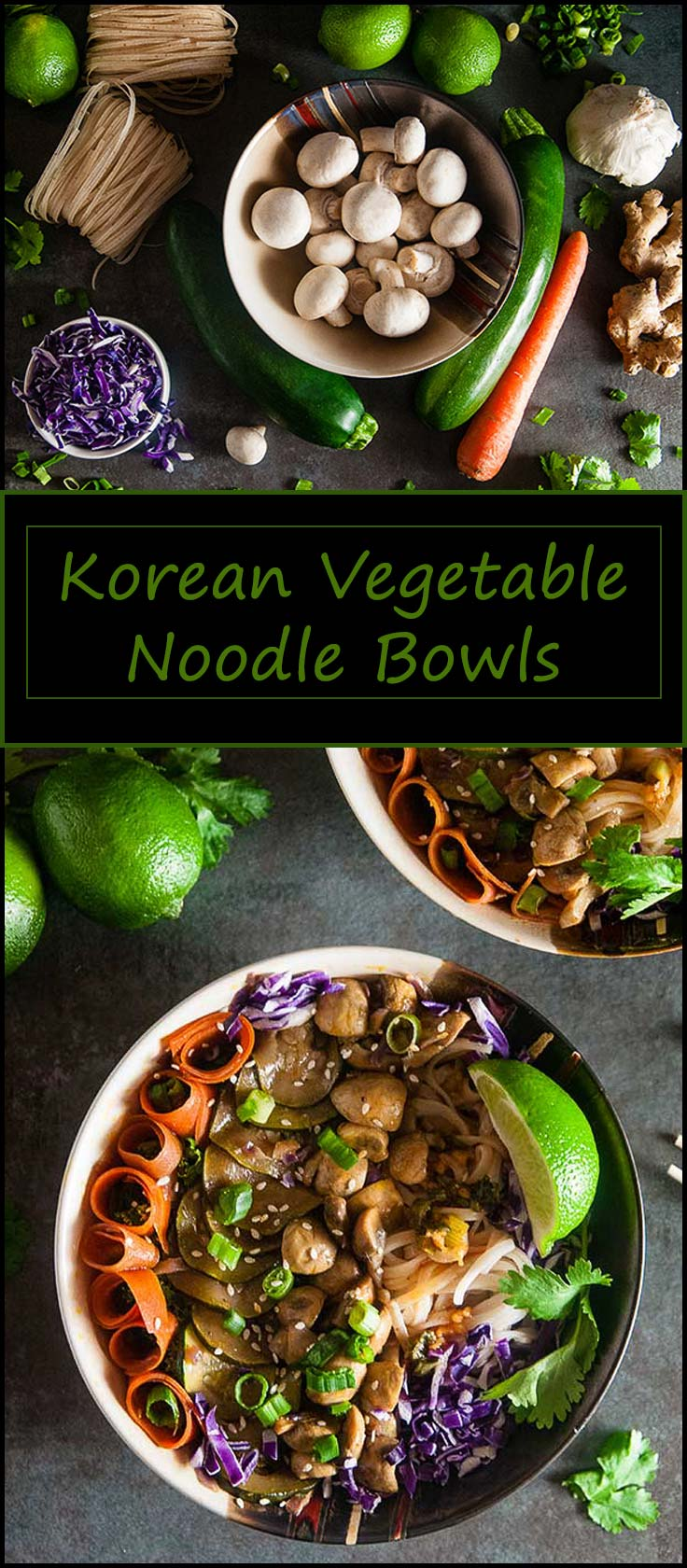 Quick Korean Vegetable Noodle Bowls inspired by bibimbap make for a vegetarian and gluten free friendly lunch or dinner that's ready in under 20 minutes from www.seasonedsprinkles.com