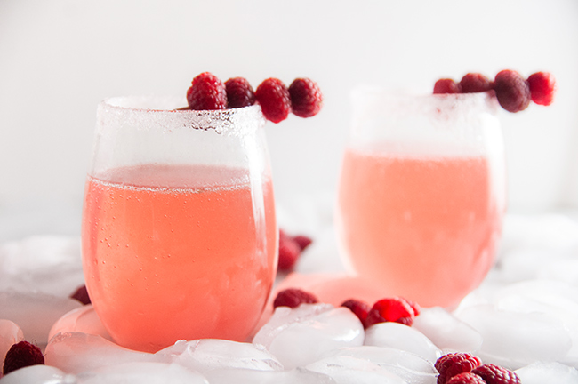 Sparkly Raspberry Champagne Cocktails