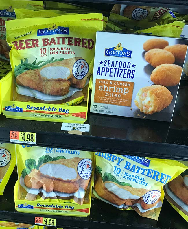Find Gorton's Beer Battered Crispy Fillets and Gorton's Seafood Appetizers - Mac n Cheese Shrimp Bites in the frozen seafood aisle in the freezer section at Walmart