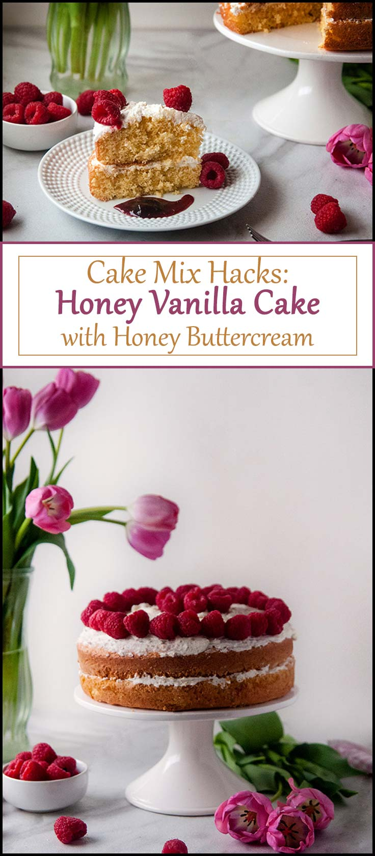 Cake Mix Hacks: Honey Vanilla Cake with Honey Buttercream is an easy springtime cake that makes the perfect easy dessert recipe for any occassion from www.seasonedsprinkles.com