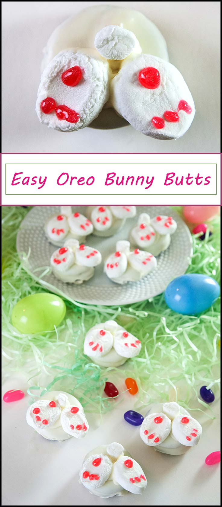 Easy Oreo Bunny Butts for Easter dessert or an Easter treat. Perfect easy Easter cookies from www.seasonedsprinkles.com