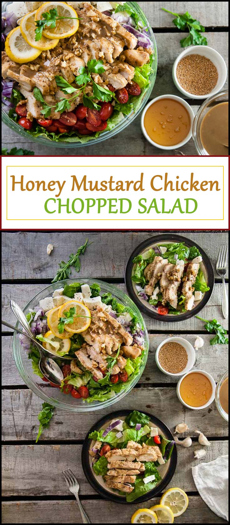 Honey Mustard Chicken Chopped Salad is a flavorful, healthy chicken recipe that tastes delicious over crisp salad for lunch or dinner from www.seasonedsprinkles.com