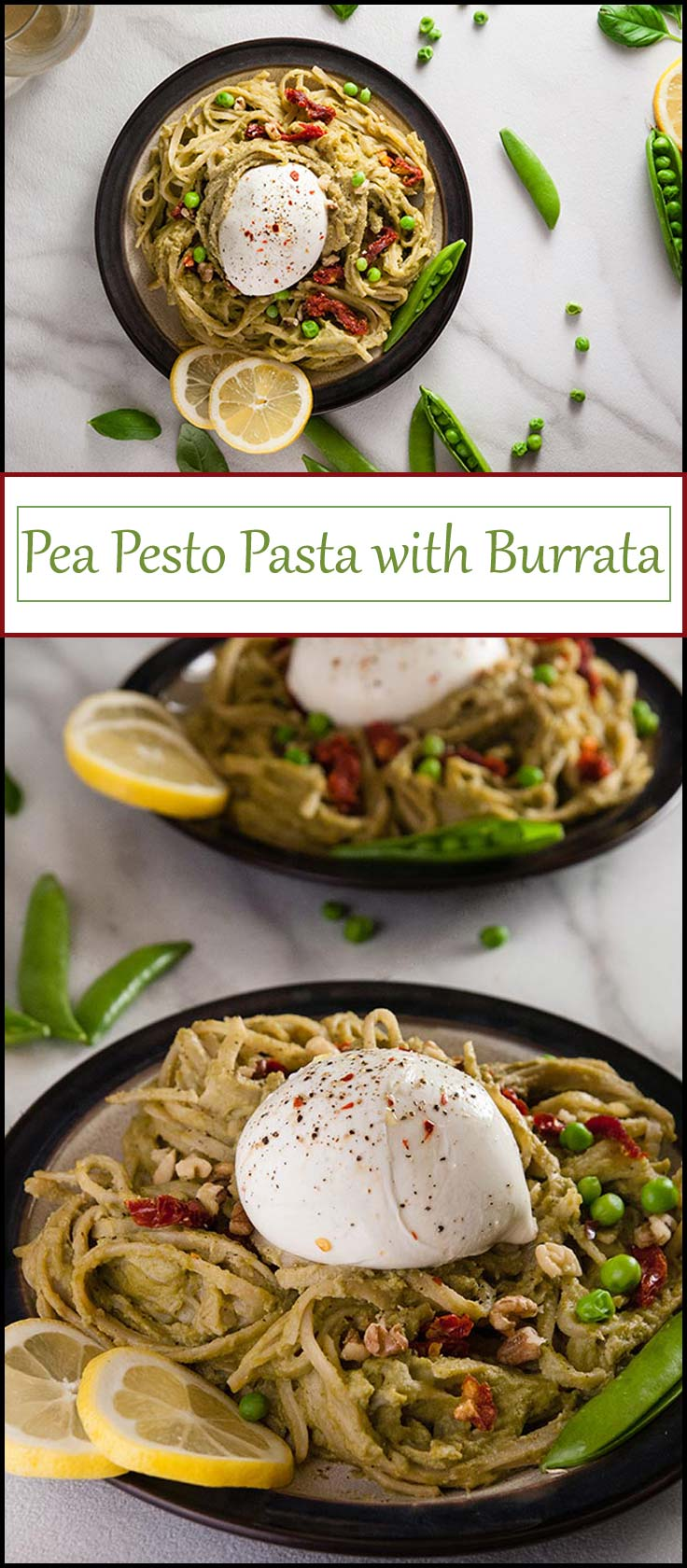 Pea Pesto Pasta with burrata is ready in 20 minutes and makes a perfect spring dinner from www.seasonedsprinkles.com