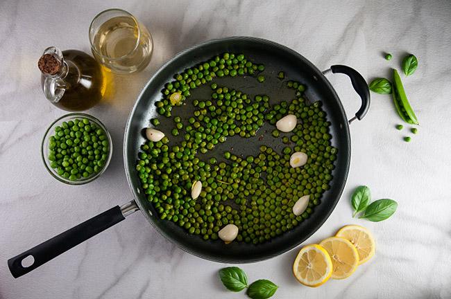Saute the peas