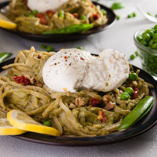 Pea Pesto Pasta with Burrata and Sun Dried Tomatoes