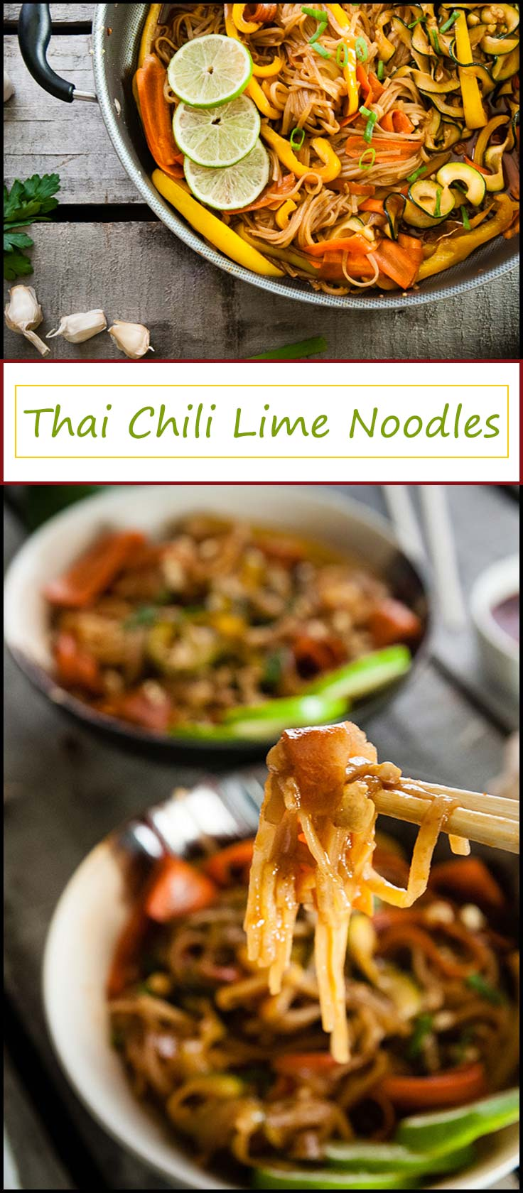 Thai Chili Lime Noodles are ready in 20 minutes and make a versatile vegetarian dinner or lunch that can be made vegan with one small change from www.seasonedsprinkles.com