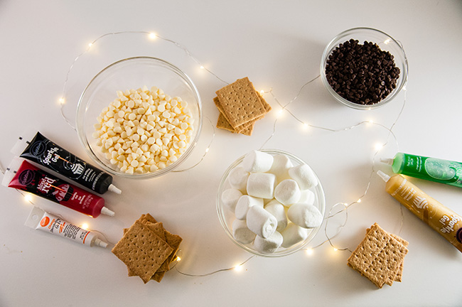 Everything you need for melted snowmen s'mores