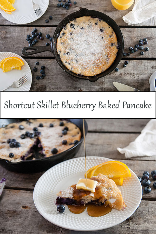 Shortcut skillet blueberry baked pancakes are the perfect way to hack boxed pancake mix to create an easy breakfast or brunch recipe that results in a perfect, as good as from scratch baked pancake from www.seasonedsprinkles.com