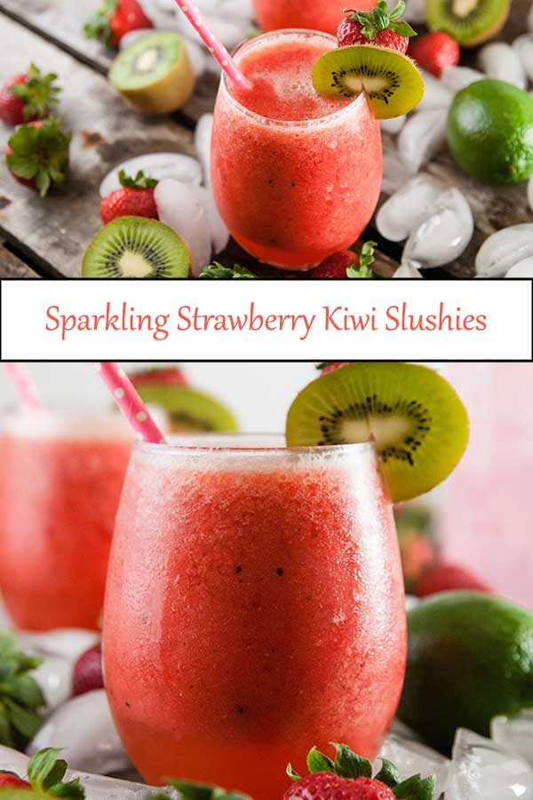 Sparkling Strawberry Kiwi Slushies are a fun summer mocktail recipe with an adult rum cocktail option from www.seasonedsprinkles.com
