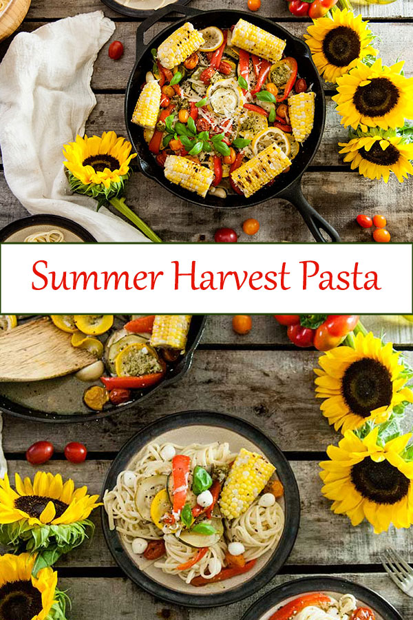 End of Summer Harvest Pasta is the perfect vegetarian summer pasta recipe full of zucchini, eggplant, bell peppers, corn, and tomatoes. The perfect vegetarian summer dinner recipe from www.seasonedsprinkles.com