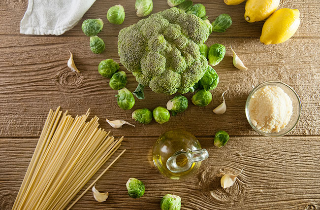 pasta with broccoli, brussel sprouts, garlic, and olive oil