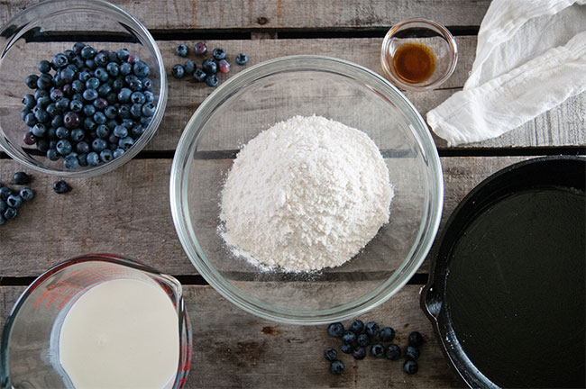 ingredients for skillet blueberry baked pancake