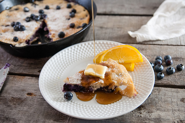 Shortcut Skillet Blueberry Baked Pancake