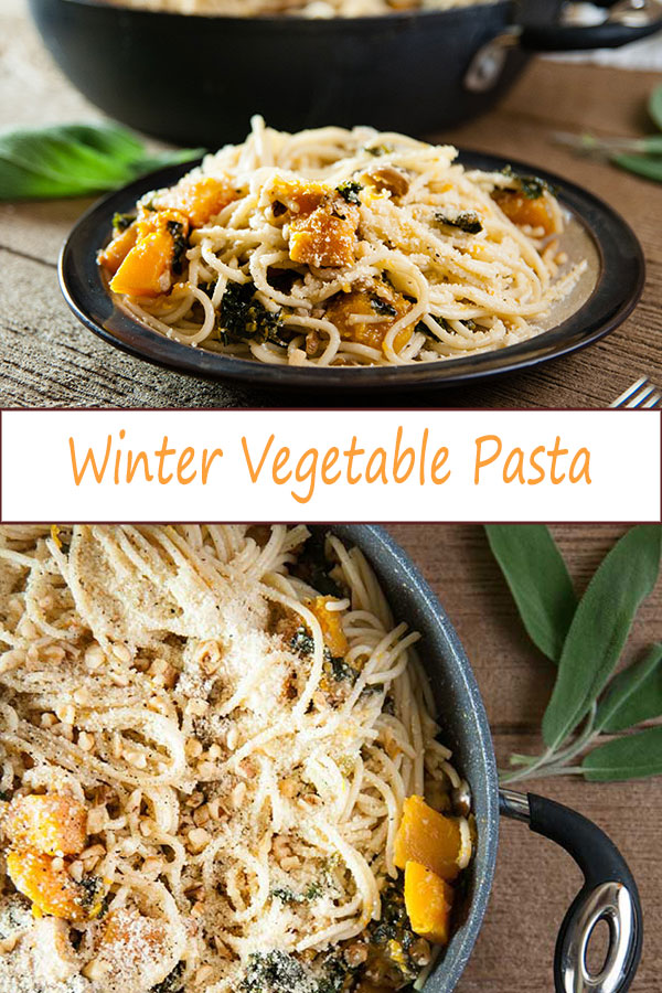 Loaded with butternut squash, kale, mushrooms, and walnuts, this winter vegetable pasta is a great cooler weather vegetarian dinner recipe from www.SeasonedSprinkles.com