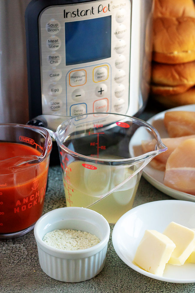 Ingredients for Instant Pot Buffalo Chicken Sliders