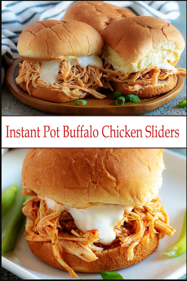 Instant Pot Buffalo Chicken sliders are a great game day or party appetizer or easy chicken sandwich dinner
