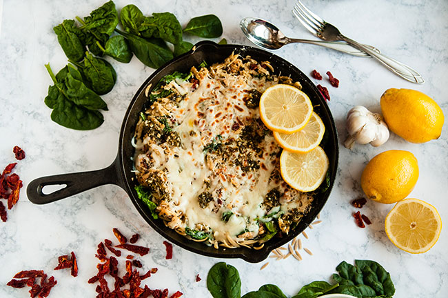 Quick Lemon Pesto Chicken and Orzo Skillet