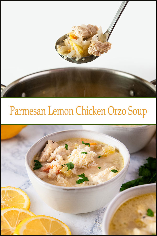Parmesan Lemon chicken orzo soup is an easy and bright chicken soup recipe
