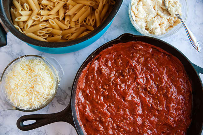 ingredients for skillet ziti
