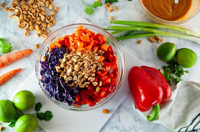 veggies and peanuts for the Thai peanut quinoa salad
