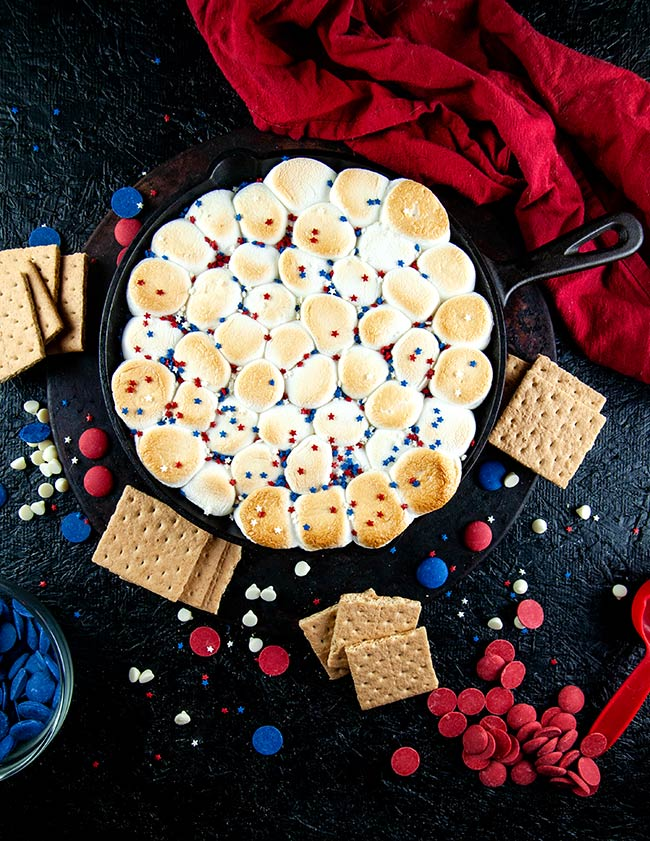 Skillet red white and blue s'mores dip