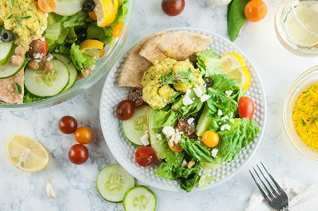 Lemony Loaded Greek Salad with Hummus