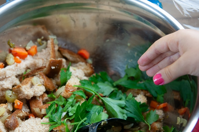 Stuffing Ingredients in a Bowl