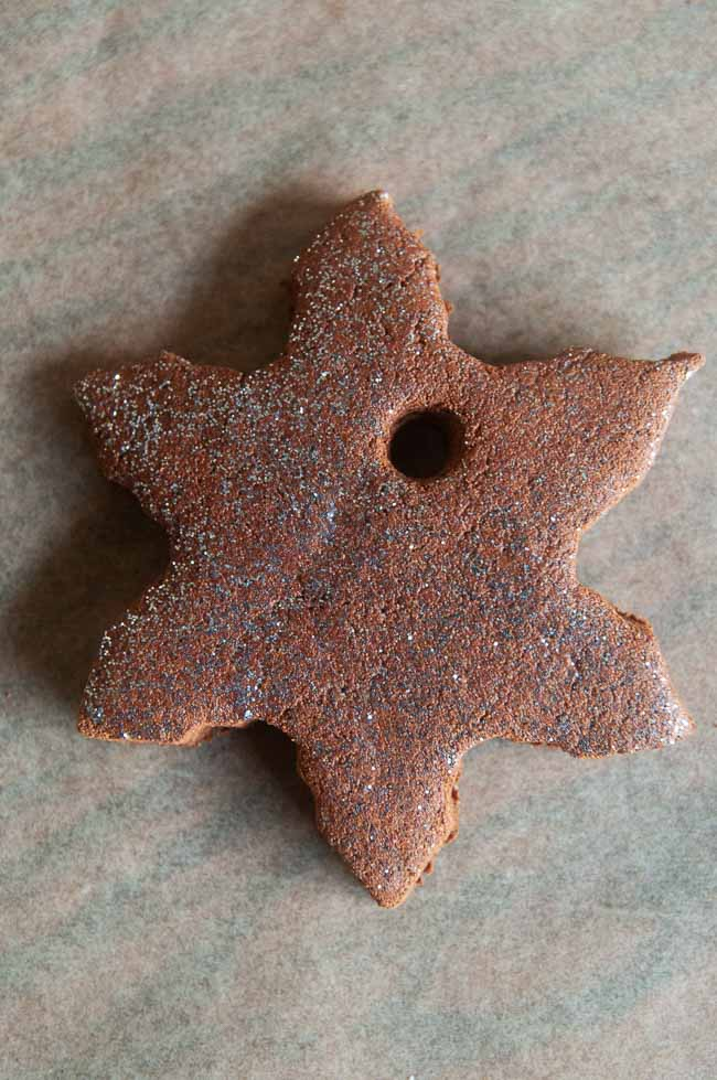 Cinnamon ornament brushed with silver glitter paint