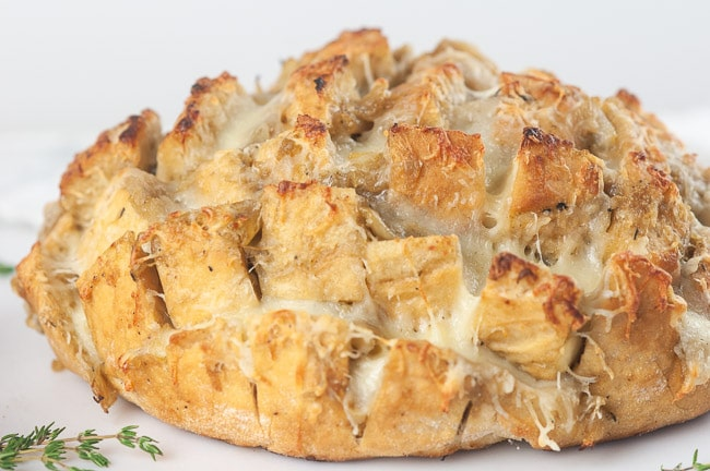 Cheesy pull apart bread on white