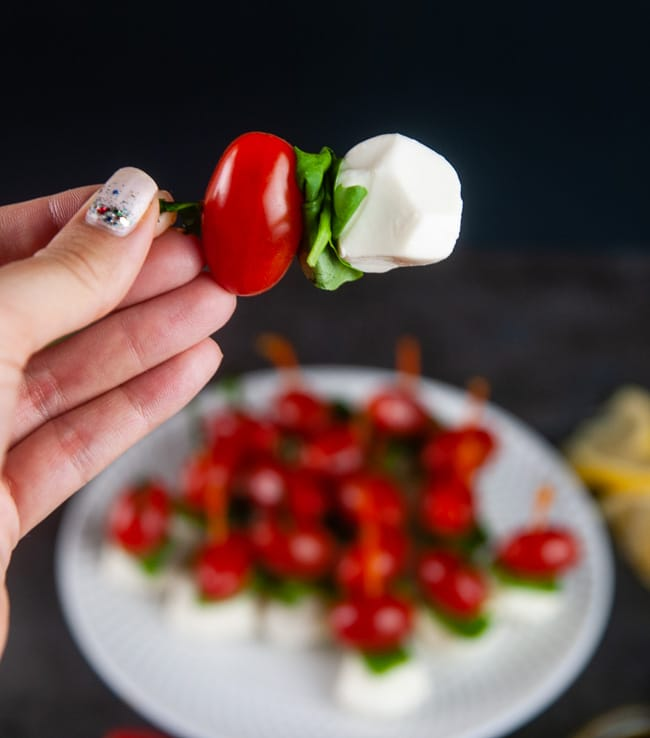 Mini caprese skewers make a delightful appetizer