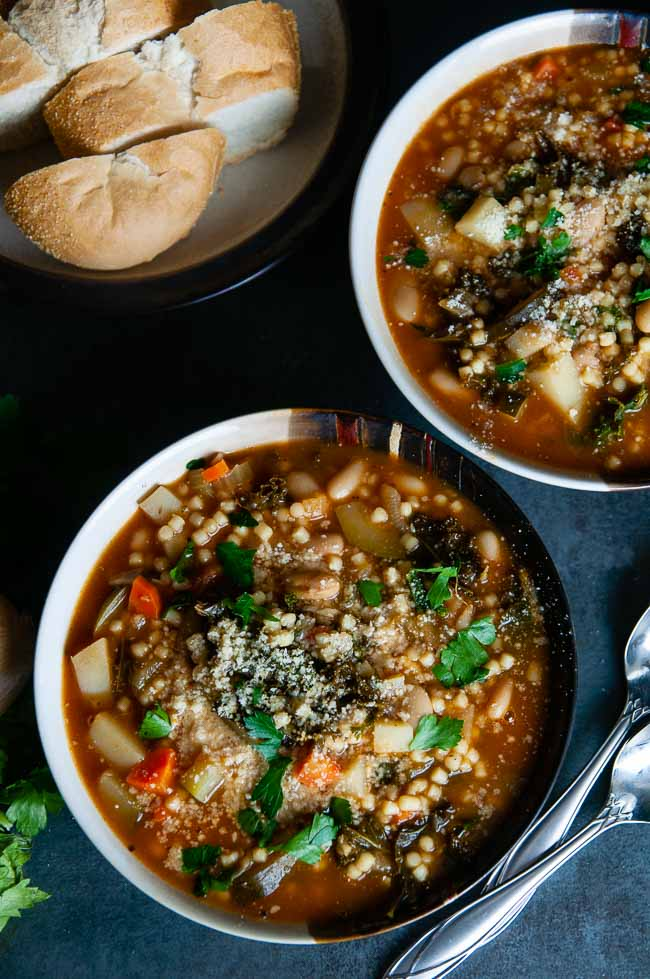 Instant pot minestrone is a vegetarian soup made in the pressure cooker.